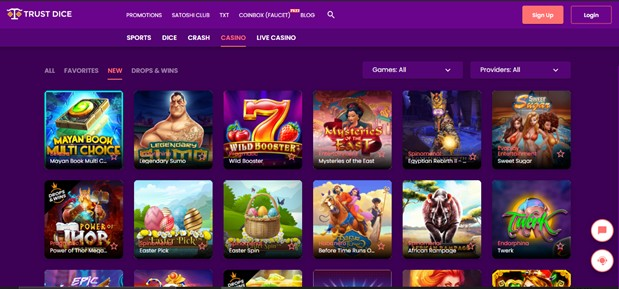 trust dice casino games selection