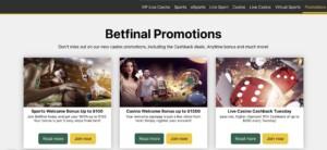 Betfinal Casino Promotions
