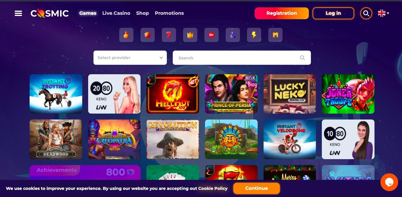 Cosmic Spins Casino gamepage