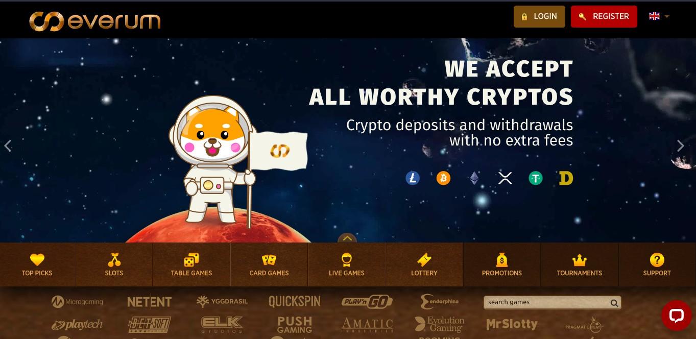 Everum Casino Homepage