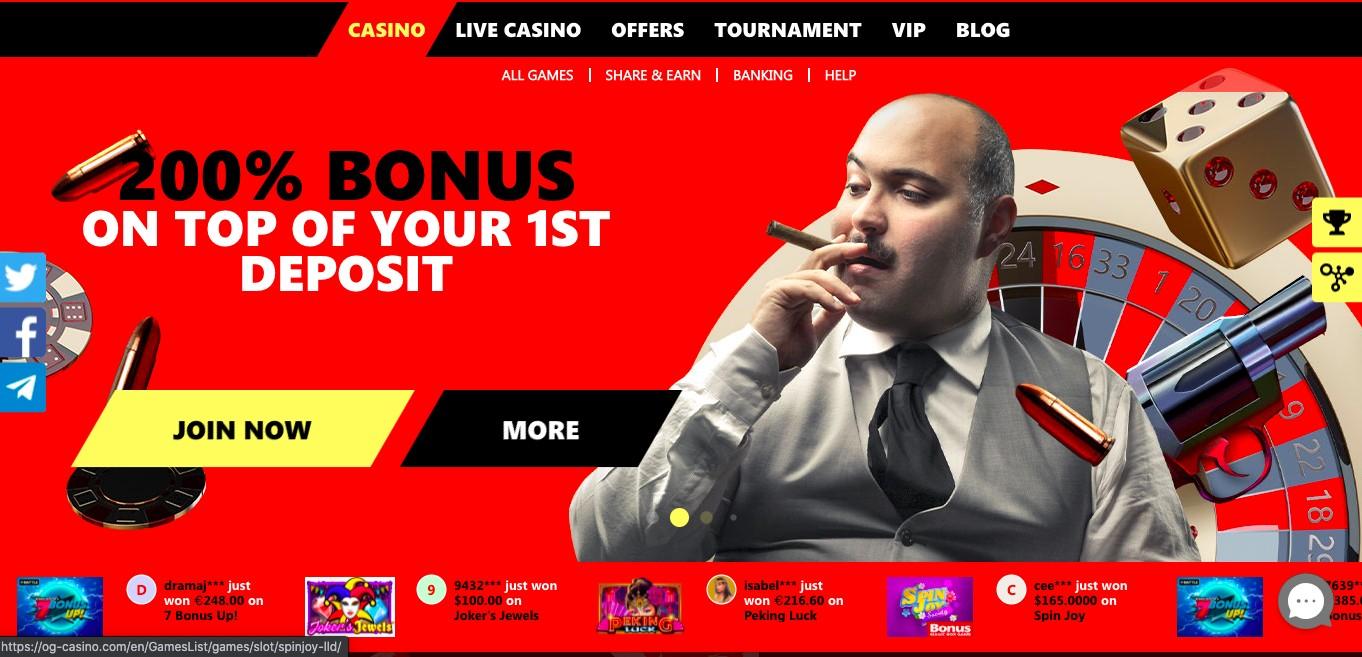 OG Casino Homepage