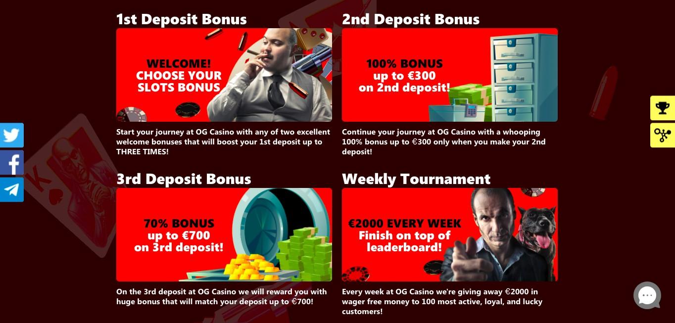 OG Live Casino Bonuses