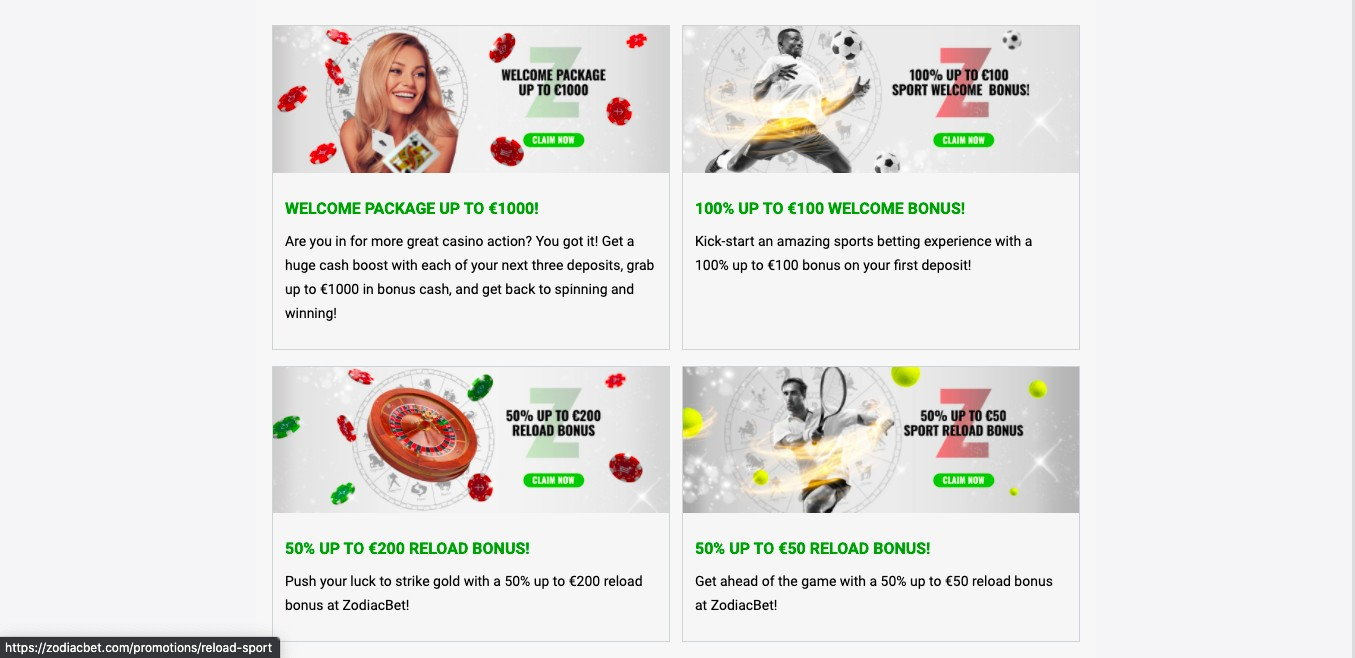 Zodiac Bet promotions