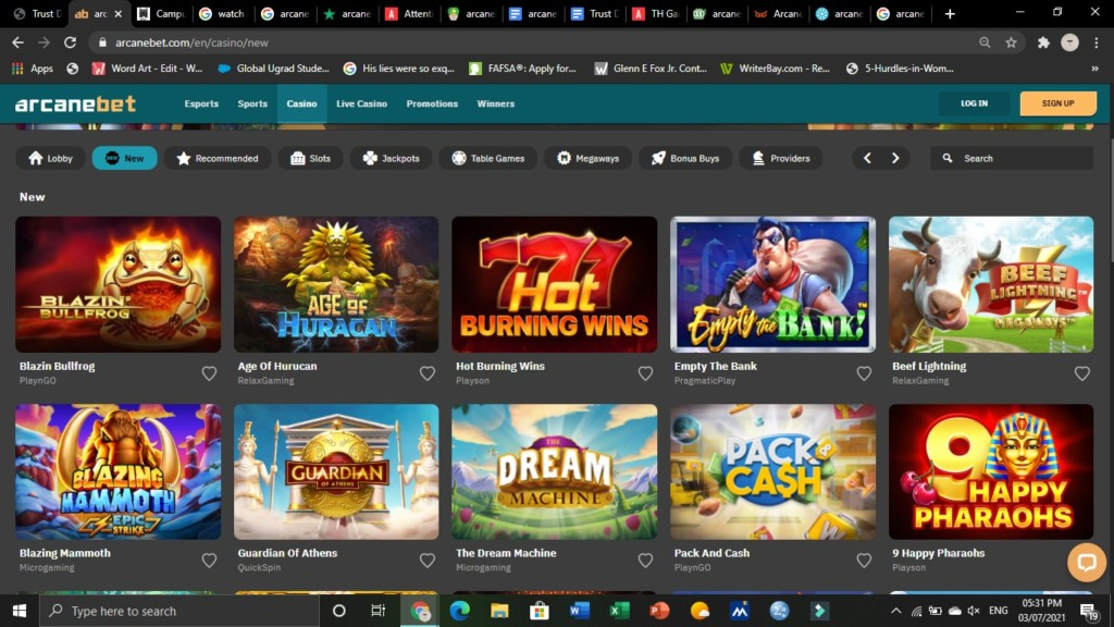 arcanebet casino games selection