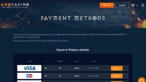 AxeCasino Payment Methods