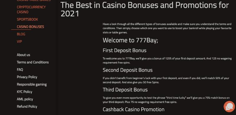 777Bay Bonuses