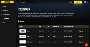 Fight Club Casino Payments